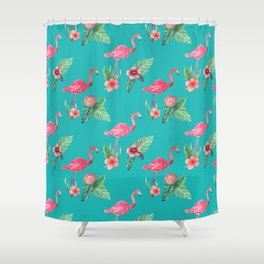 Flamingo floral pink and teal Shower Curtain