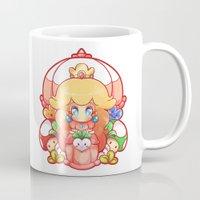 princess peach Mugs featuring Princess Peach Badge by Tiffa Cakes