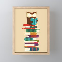 Owl Reading Rainbow Framed Mini Art Print