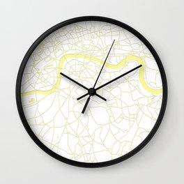 London White on Yellow Street Map Wall Clock