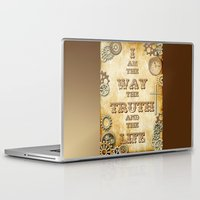 bible verses Laptop & iPad Skins featuring Bible Verse Steampunk Way Truth Life by Whimsy and Nonsense