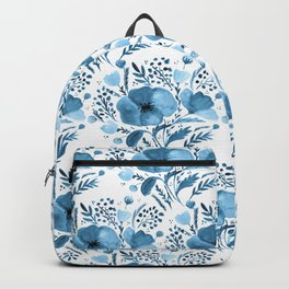 Flower bouquet with poppies - blue Backpack
