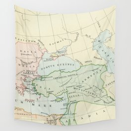 Old Map of The Roman Empire Wall Tapestry