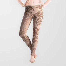 Rose Gold Damask Leggings