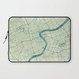 Shanghai Map Blue Vintage Laptop Sleeve