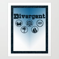 divergent Art Prints featuring Divergent by green.lime