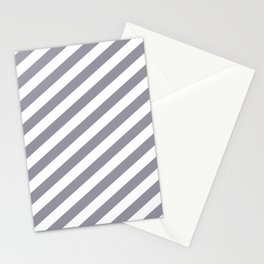 Pantone Lilac Gray & White Stripes Fat Angled Lines - Stripe Pattern Stationery Cards