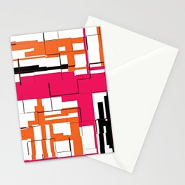 CREATIVE ART PRINT WITH ORANGE, BLACK AND PINK Stationery Cards