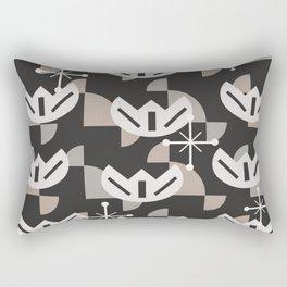Atomic Era Funky Flowers (Black) Rectangular Pillow