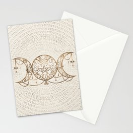 Triple Moon - Triple Goddess Pastel Gold Stationery Cards