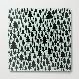Mint x Pine Forest Metal Print