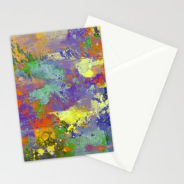 Signs Of Life - Vibrant, random paint splatter multi coloured abstract Stationery Cards