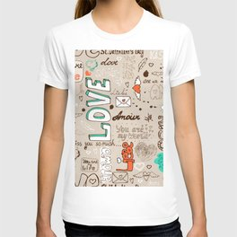 Seamless love letter pattern T-shirt