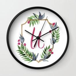Jungle Gold Monogram Crest U Wall Clock