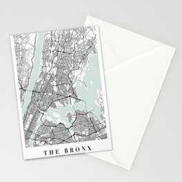 The Bronx New York Blue Water Street Map Stationery Cards