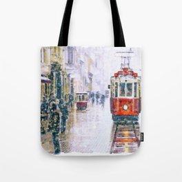 Istanbul Nostalgic Tramway Tote Bag