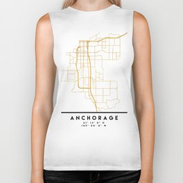 ANCHORAGE ALASKA CITY STREET MAP ART Biker Tank