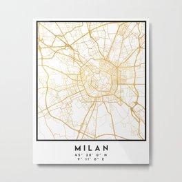 MILAN ITALY CITY STREET MAP ART Metal Print