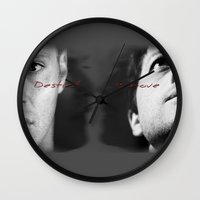 destiel Wall Clocks featuring Dean/ Castiel, Destiel by  Marina Teyya