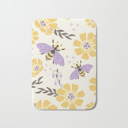 Honey Bees and Flowers - Yellow and Lavender Purple Bath Mat