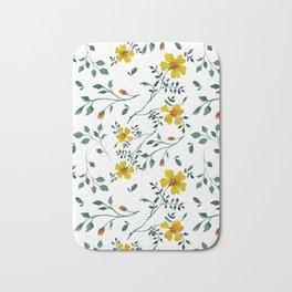 Little yellow flowers Bath Mat