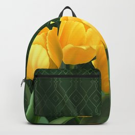 Yellow Tulips with Pattern Backpack