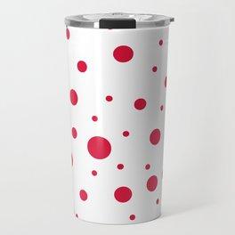 Mixed Polka Dots - Crimson Red on White Travel Mug