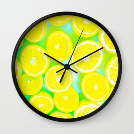 juicy yellow lemon pattern abstract with green background Wall Clock