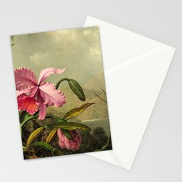 Orchids And Hummingbirds mountainous rainforest landscape painting by Martin Johnson Heade Stationery Cards