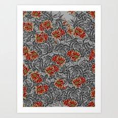 Floral grey Art Print