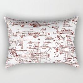 F-18 Blueprints // Red Ink Rectangular Pillow