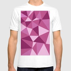 Pink Geometric White Mens Fitted Tee MEDIUM