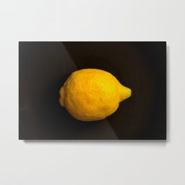 Yellow Lemon On A Black Background #decor #society6 Metal Print