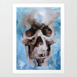 Oil Painting of skull on light blue background Art Print