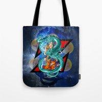 dbz Tote Bags featuring DBZ - Goku Super Saiyan God by Mr. Stonebanks