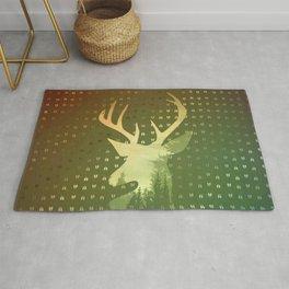 Golden Deer Abstract Footprints Landscape Design Rug