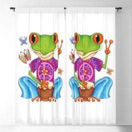 Peace Frog - Colorful Hippie Frog Art by Thaneeya McArdle Blackout Curtain