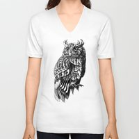 bioworkz V-neck T-shirts featuring Owl 2.0 by BIOWORKZ