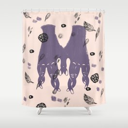 hands and leaves Shower Curtain