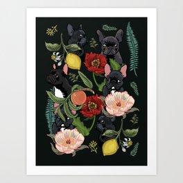 Botanical and Black Frenchie Art Print