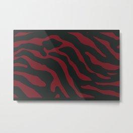 Tiger Skin Pattern Firebrick Red Metal Print