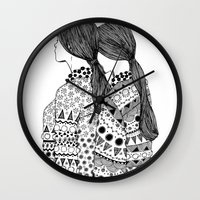 twins Wall Clocks featuring Twins by La Thai