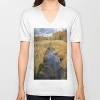 georgia V-neck T-shirts featuring Georgia Landscape by Rosie Brown