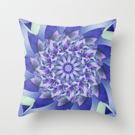 Ever Expanding Mandala in Blue and Purple Throw Pillow