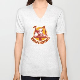 American Football Touchdown World Champions Unisex V-Neck