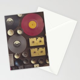 Music. Vintage wall with vinyl records and audio cassettes hung. Stationery Cards
