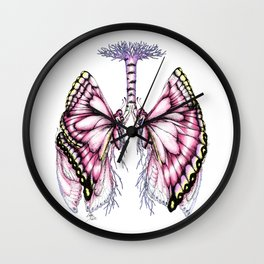 Pink Butterfly Lungs Wall Clock