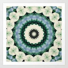 White Flower and Cerulean Blue Mandala Art Print