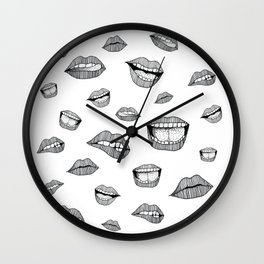 Lips. Black and white drawing. Wall Clock