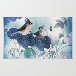 Cute birds with flowers Rug